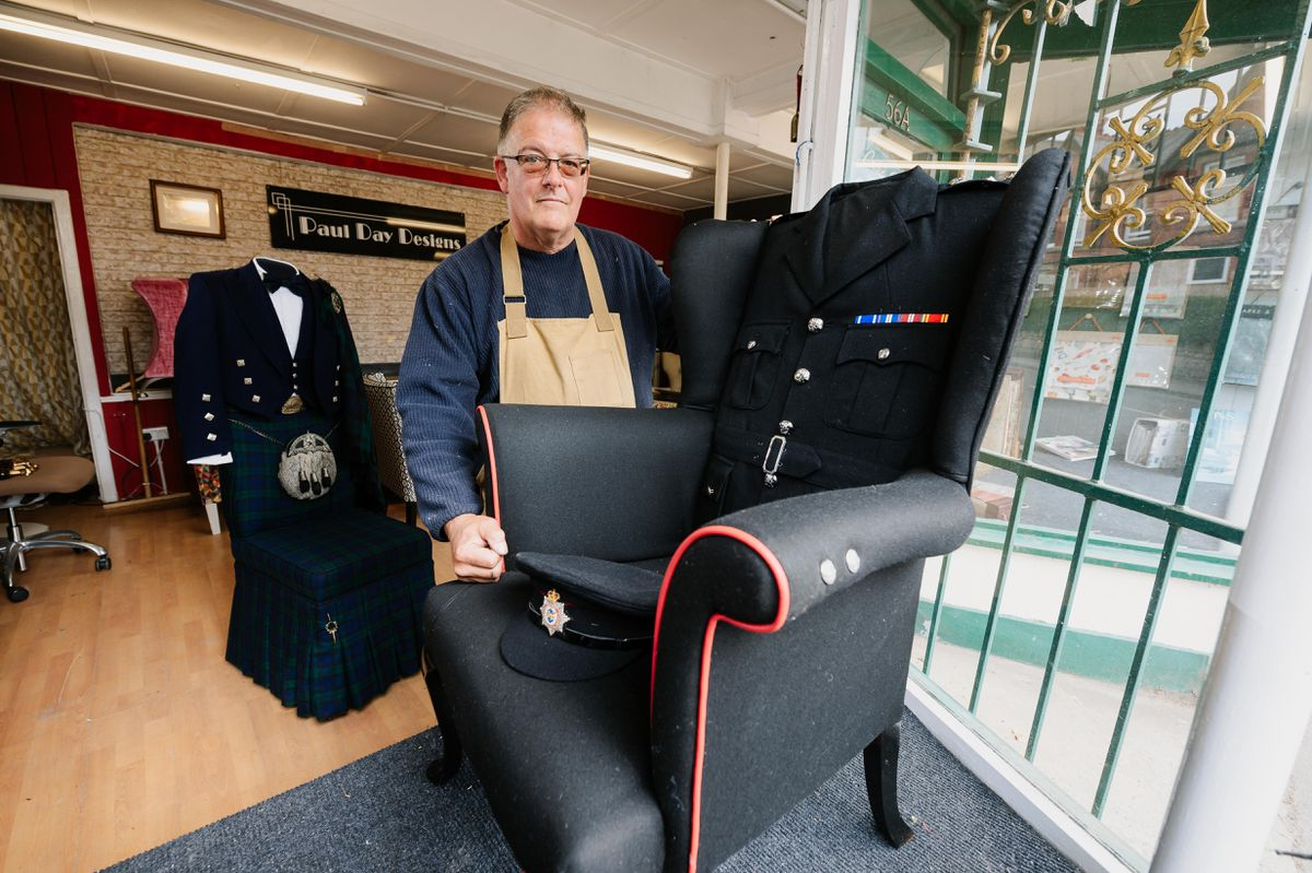 Business owner Paul Day's latest piece is a wing chair made for the retirement of a naval firefighter