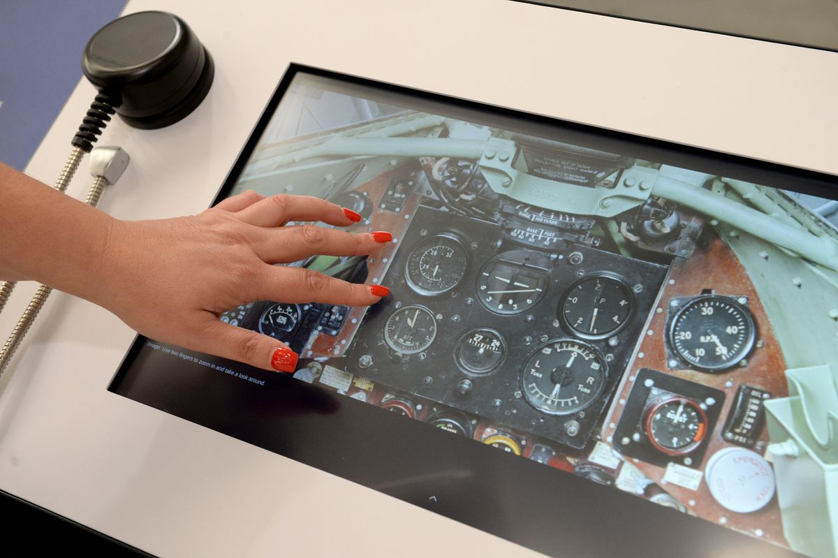 Touchscreen information is available in the new exhibition