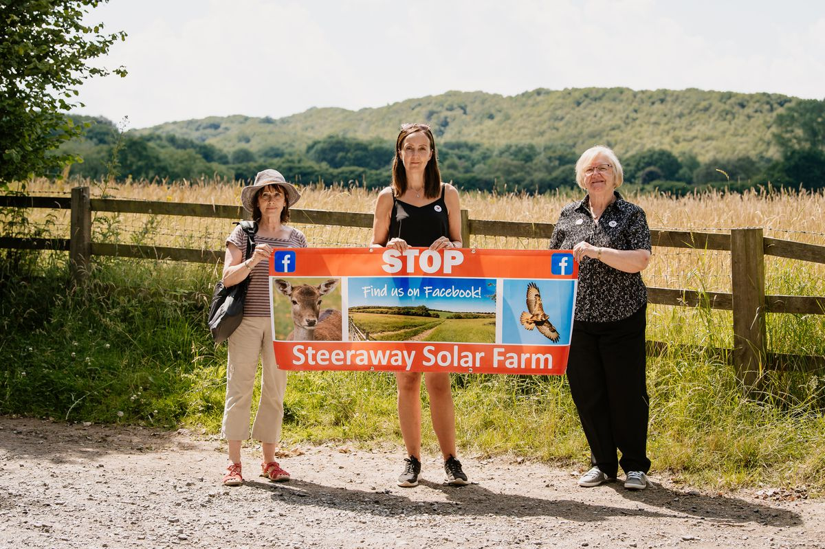 Stop Steeraway Solar Farm group. Pictured from left are Councillor Angela McClements, Jocelyn Lewis and Councillor Joan Gorse