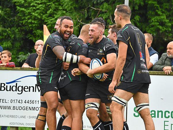 Bridgnorth celebrate a try against DK on Saturday Picture: Robert Nicholls