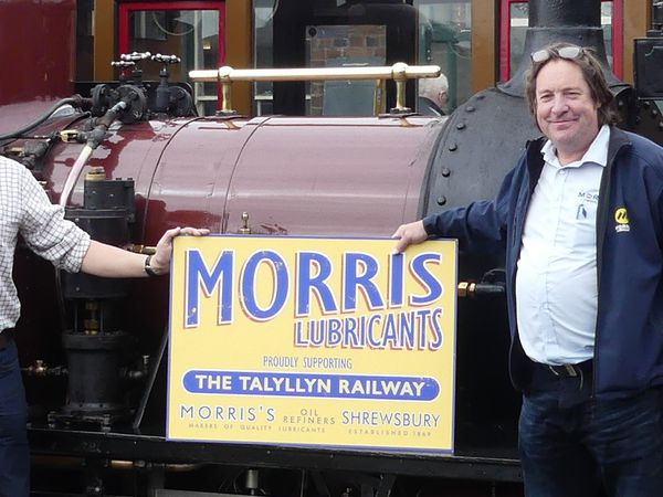 Keiron Thorogood (right) pictured with Morris Lubricants' executive chairman Andrew Goddard at Talyllyn Railway earlier this year.