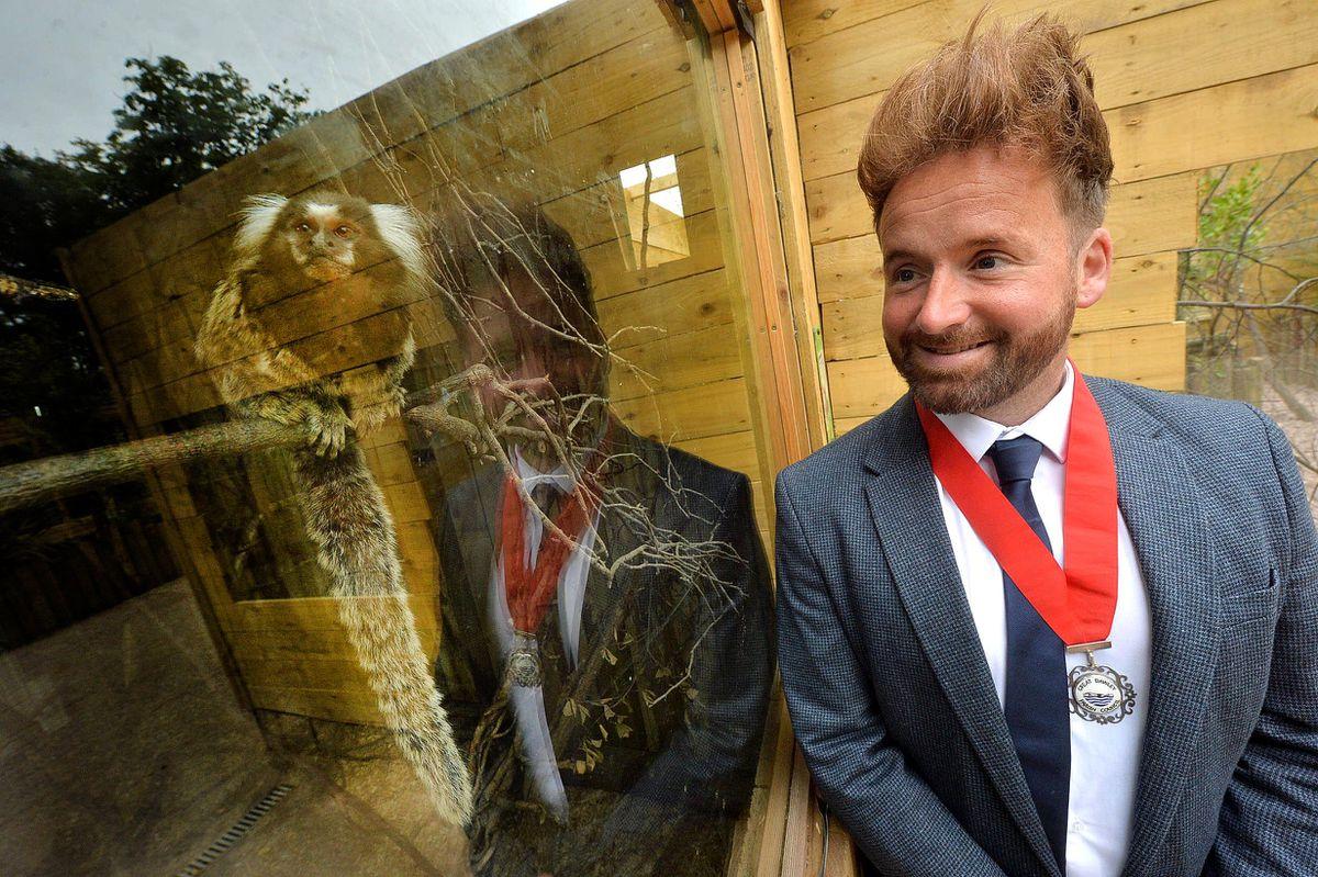 Lawley's deputy mayor Ian Preece has a rival for his hair from the little monkey