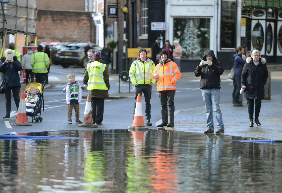 Flooding in Wyle Cop, Shrewsbury