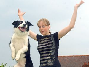 Kate Nicholas,16, from Norbury near Whitchurch with her talanted jumping dog Gin, who are appearing on Britain's Got Talent. WITH WORDS..