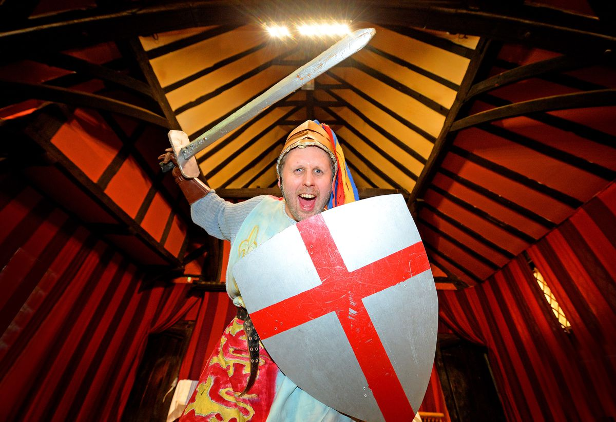 Michel Spencer dressed up as St George at West Bromwich Manor House in 2019