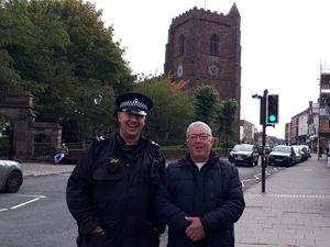 Sgt Richard Jones and Councillor Peter Scott in Newport