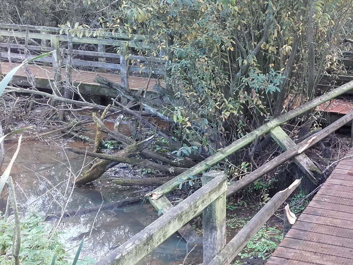 The damage to the boardwalk