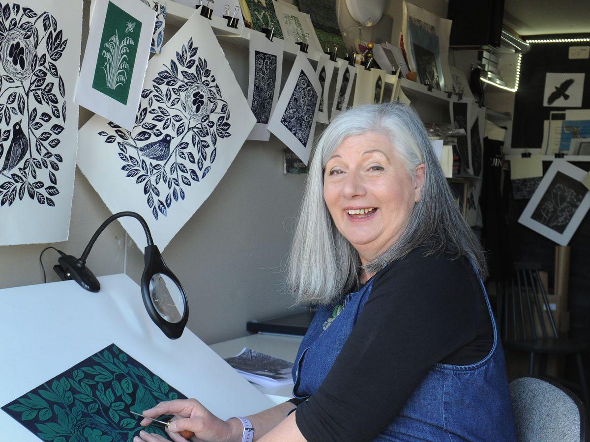 Print artist Shelley Wingrove set up her studio, in Homer, Much Wenlock, during lockdown
