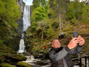 Paul Williamson from Wolverhampton takes a selfie at Pistyll Rhaeadr