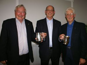 Left to right, past president Fred McDonogh, current president John Yeomans and immediate past president John Law