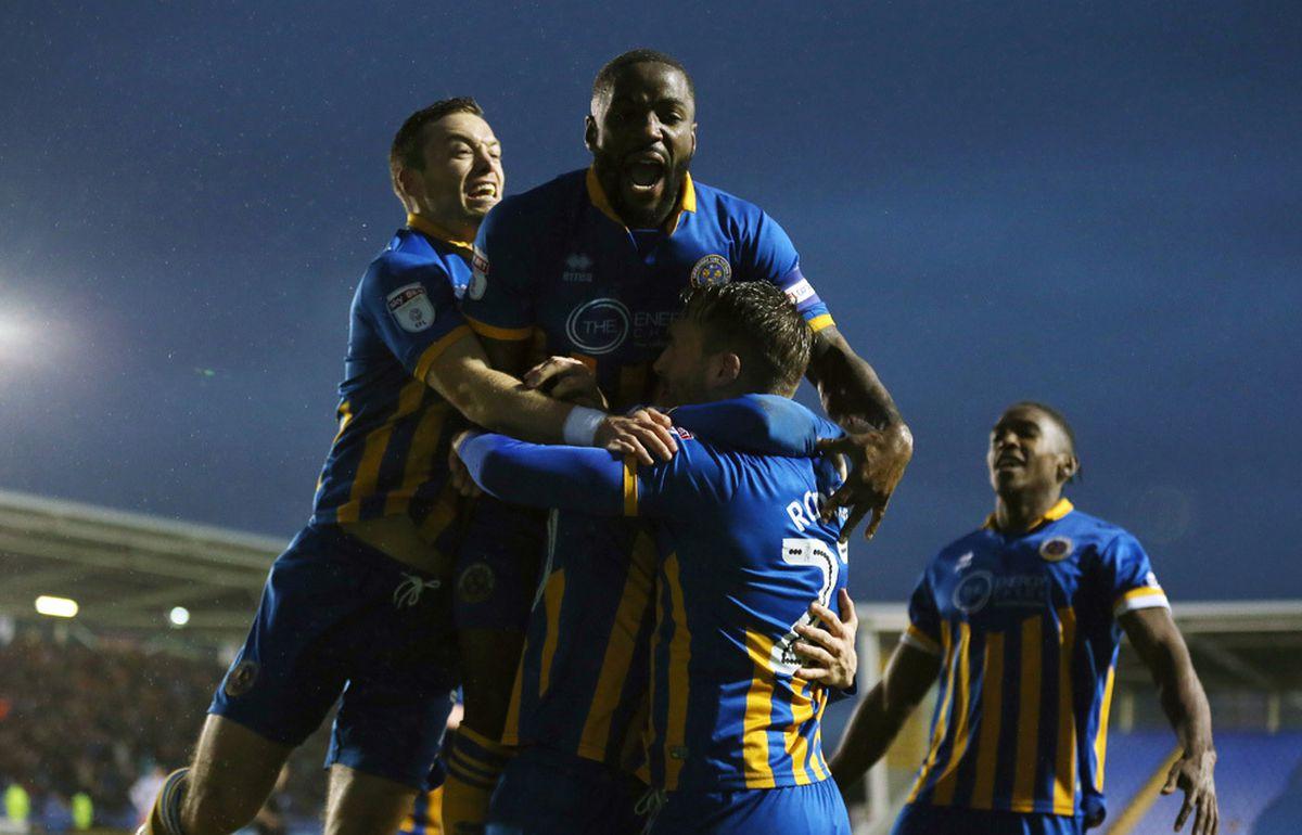 Jon Nolan of Shrewsbury Town celebrates with his team mates (AMA)