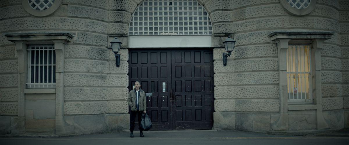 Les Dalton (Doug Allen) leaves prison - filmed at Shrewsbury's Dana Prison
