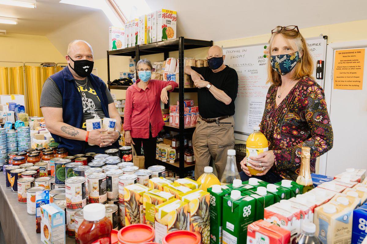 Bishop's Castle Food Bank. From left are Chris Moore (volunteer), Mandy Bryce (volunteer coordinator), Andy Stelman (coordinator) and Lorraine Hedge (volunteer coordinator)