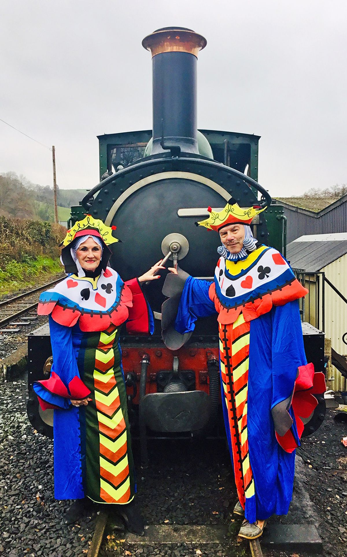 Judith and Stuart Marvin of Montgomeryshire Community Drama Association take to the railway stage before next July's theatre experience. Photo: C Davies