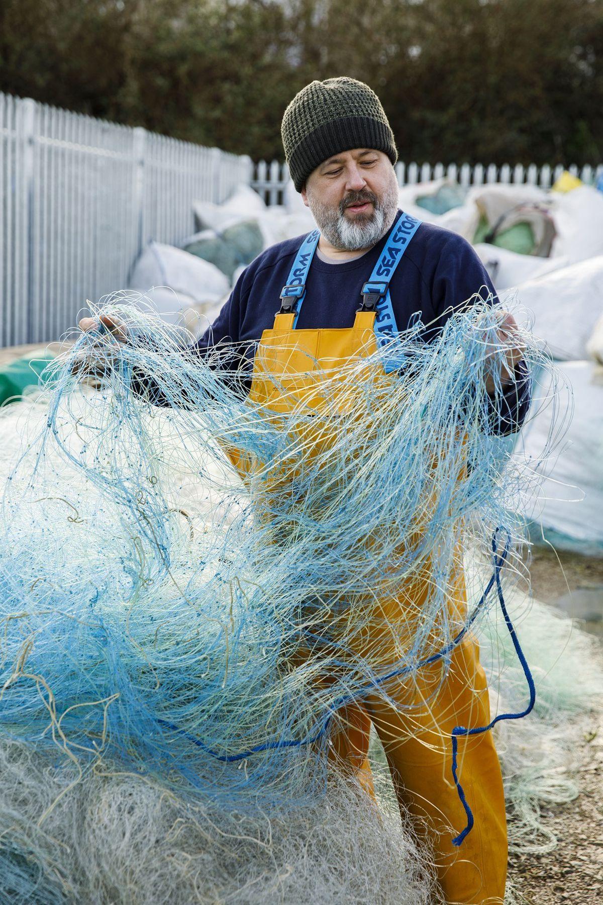 Ian Falconer with the recycled nylon fishing nets into engineering grade filament