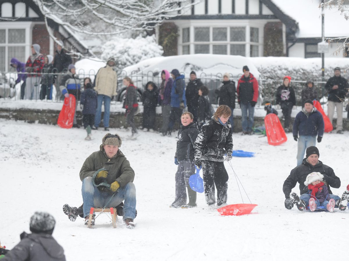 Sledging fun at Tettenhall in December 2010, when there was the last widespread white Christmas.