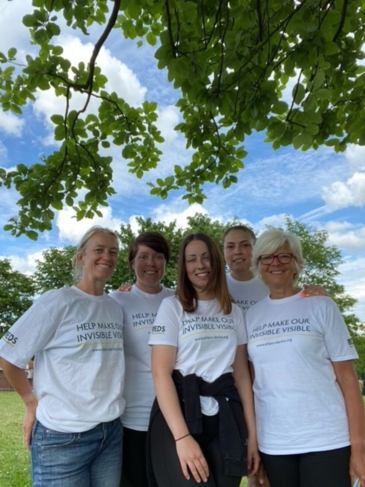 Debbie Havard, Wendy Hillman, Natalie Carr, Rachael Dodd and Jade Dodd are raising money for Ehlers-Danlos Support UK