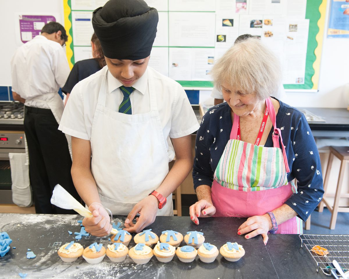 Dr Norma Raynes at one of the schools she works in