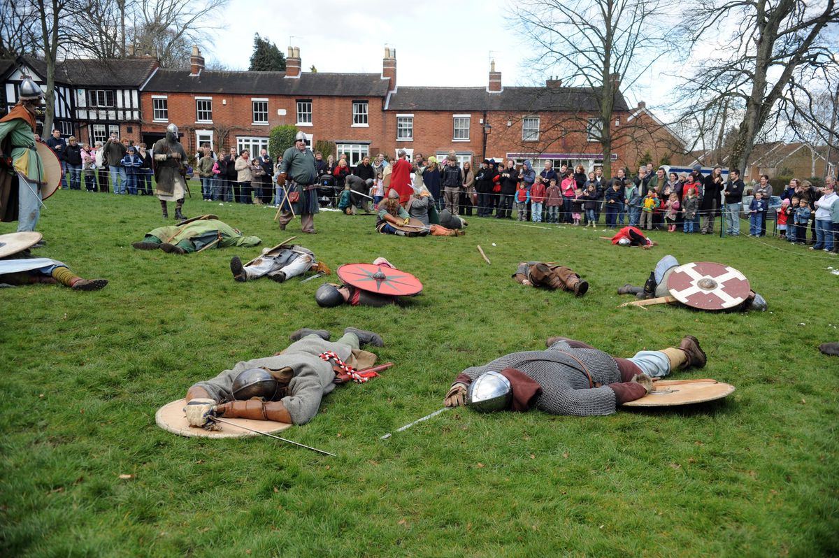 Danes down and out – the aftermath of the encounter at Tettenhall. Be assured that no Danes were harmed in the taking of this picture (it was a re-enactment day).
