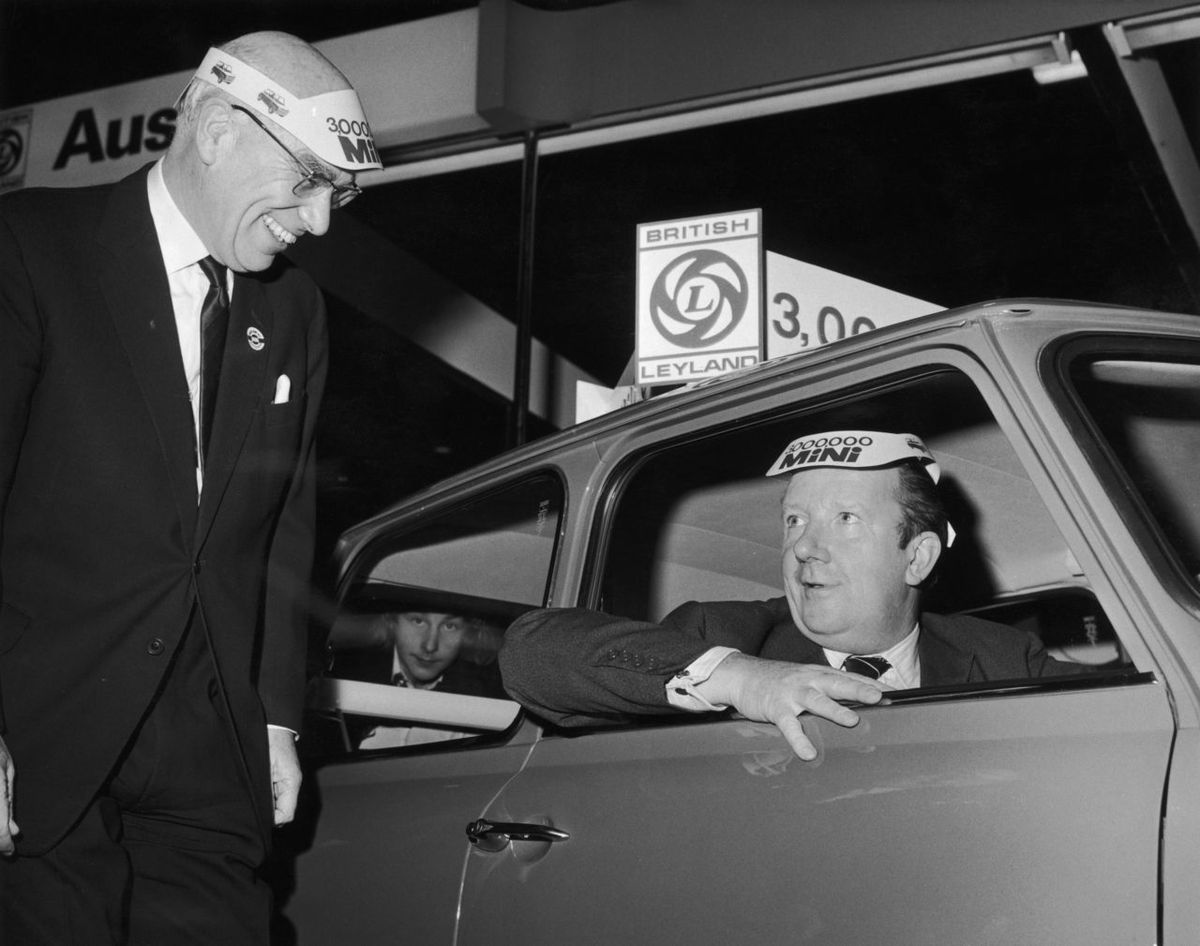 BL chairman Lord Stokes with transport minister John Peyton at the 1971 Motor Show