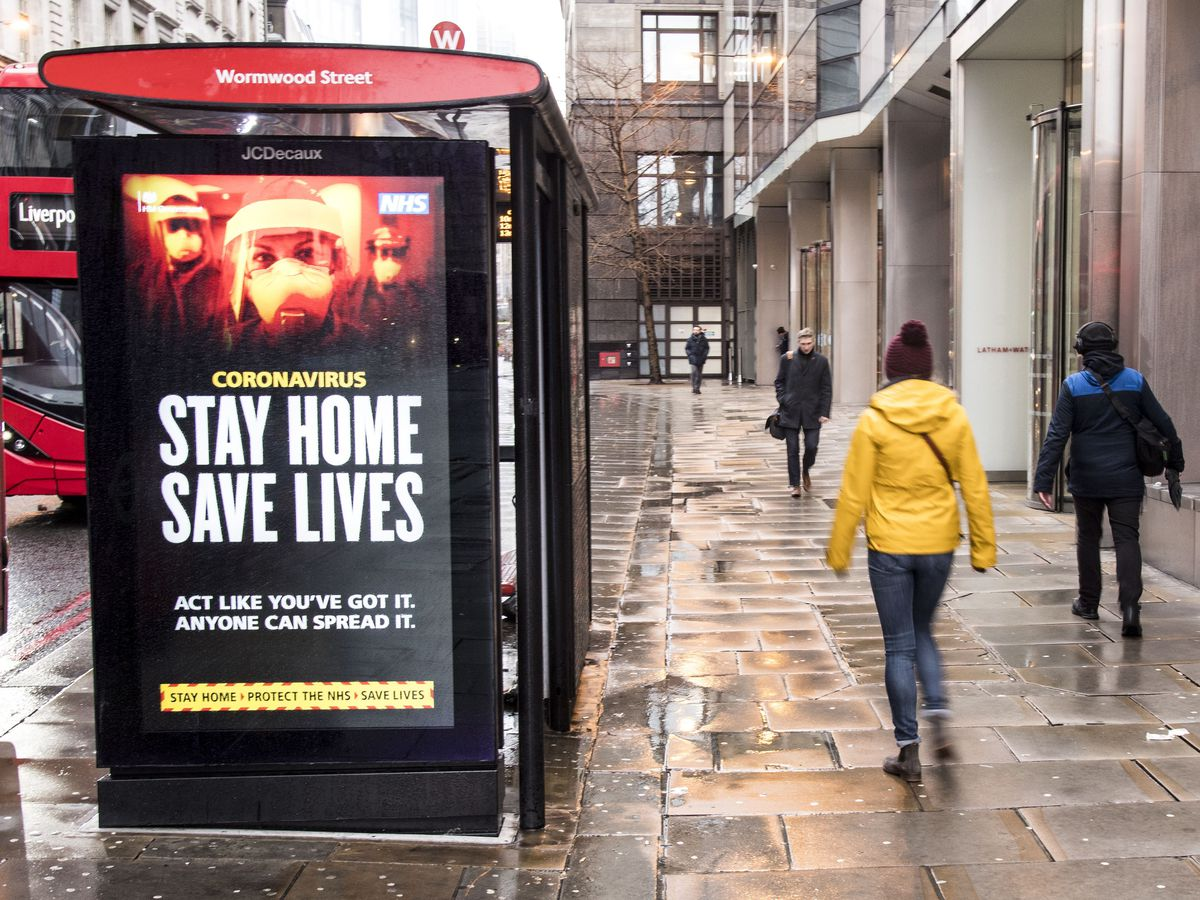 A bus stop sign on Bishopgate in London during England's third national lockdown to curb the spread of coronavirus