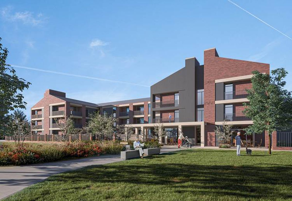 Computerised design for an extra care village as part of a proposed 329-home development, in Donnington Wood Way, in Telford