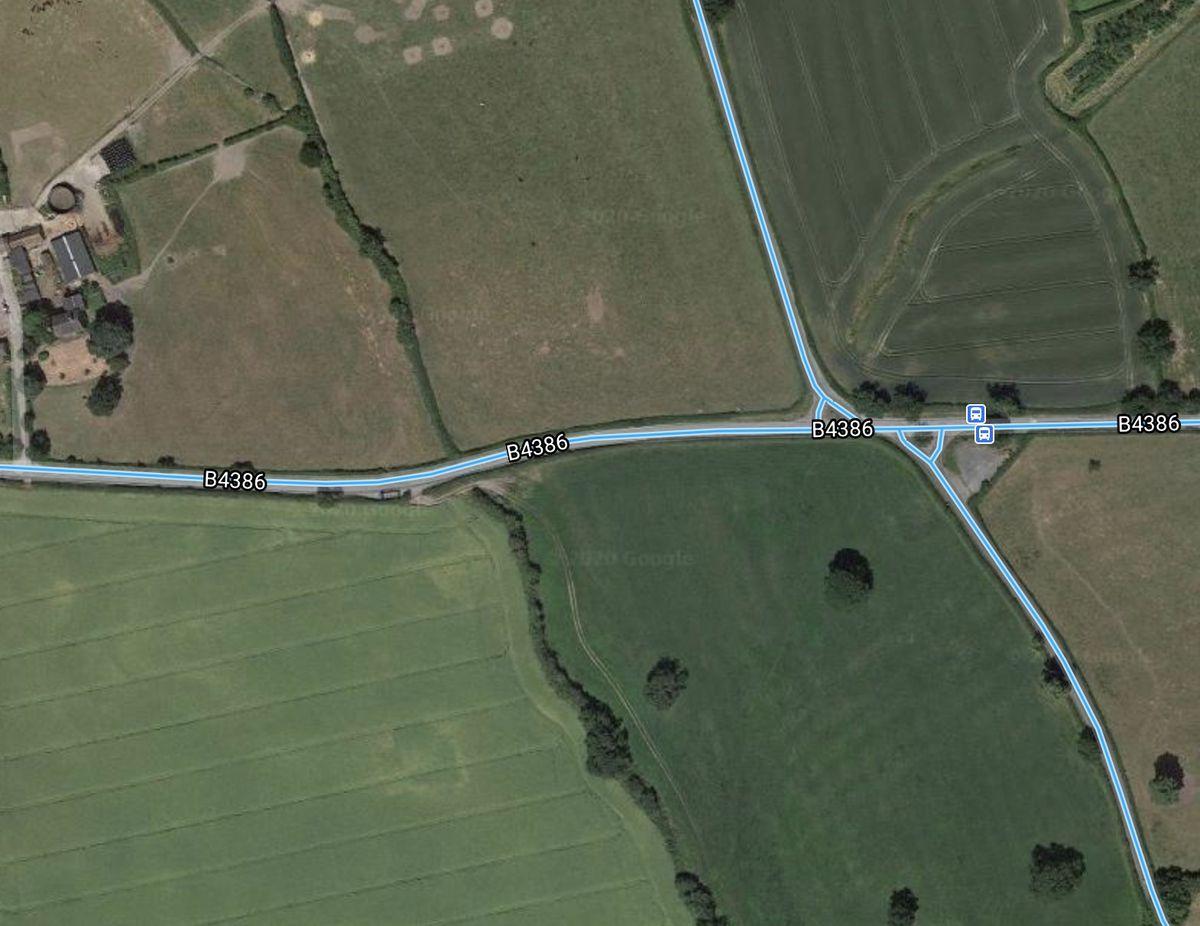 The B4386 at Cruckton. Image Google Maps.