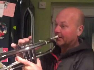 Dad plays trumpet along to a BTS song
