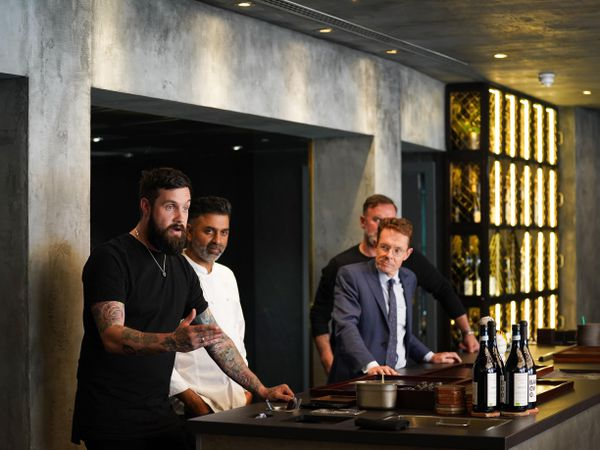 West Midlands Mayor Andy Street alongside chefs Aktar Islam, Glynn Purnell and Alex Claridge, at the Opheem restaurant, Birmingham
