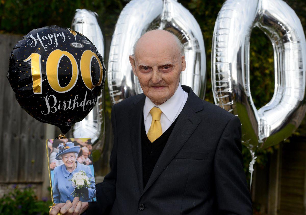 Les Cherrington celebrating his 100th birthday in 2018