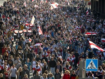 100,000 join march as protests continue in Belarus
