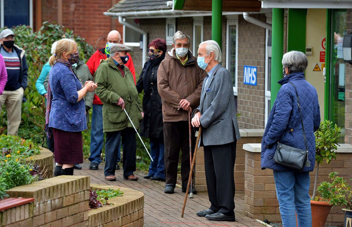 Patients turning up for their Covid vaccinations in Church Stretton