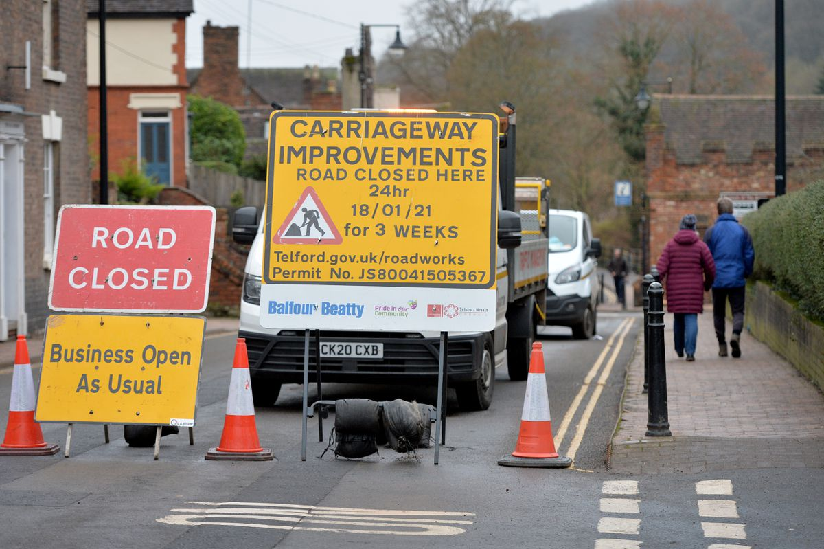 The Wharfage yesterday before roadworks were suspended