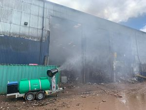 The fire at Ketley continues to spew smoke. Photo: Market Drayton Fire Station