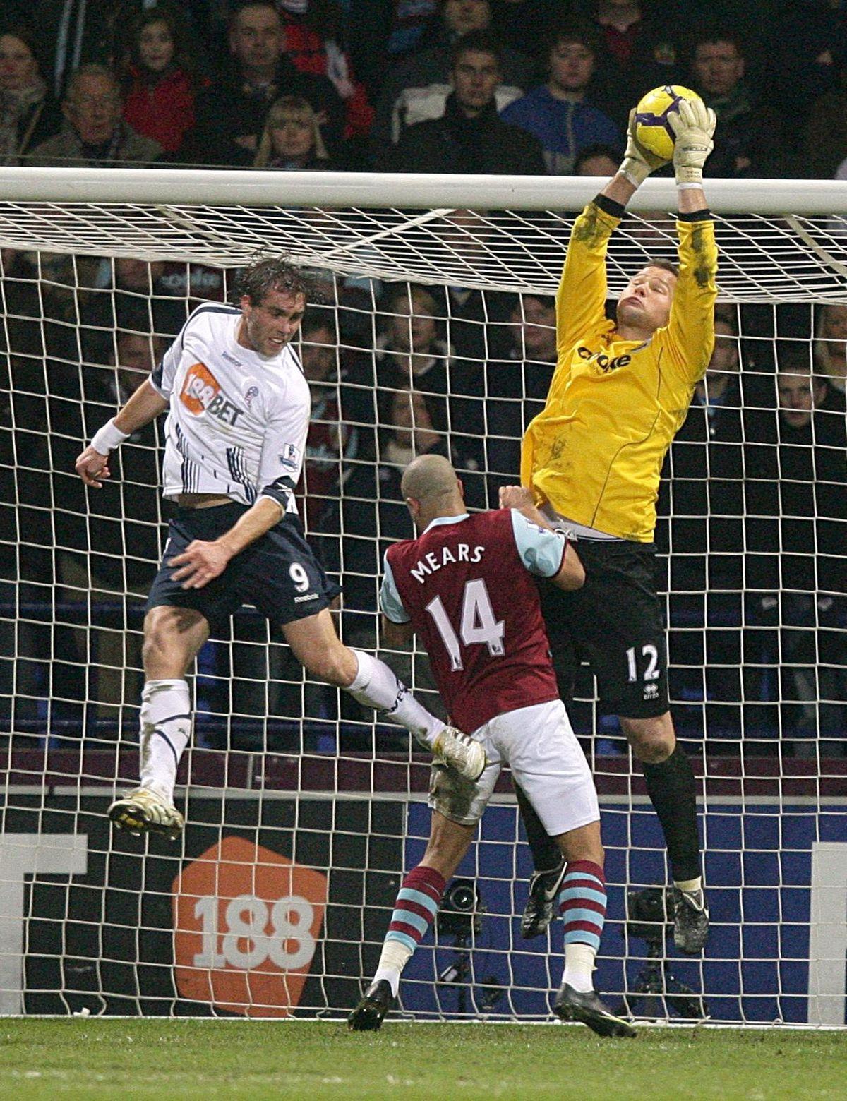 Brian Jensen in Premier League action for the Clarets.