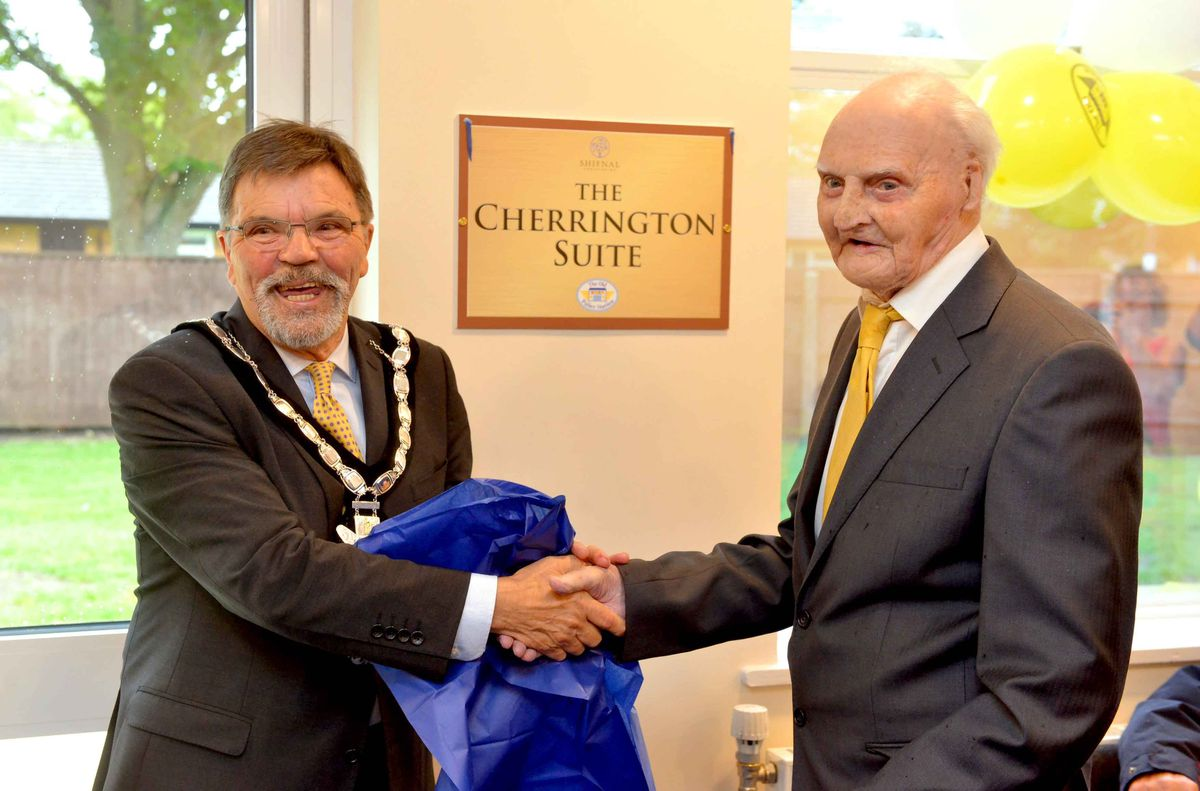 Shifnal mayor councillor Robert Harrop with Les Cherrington at the opening of The Old Police Station Community Hub, where the main meeting room was named The Cherrington Suite