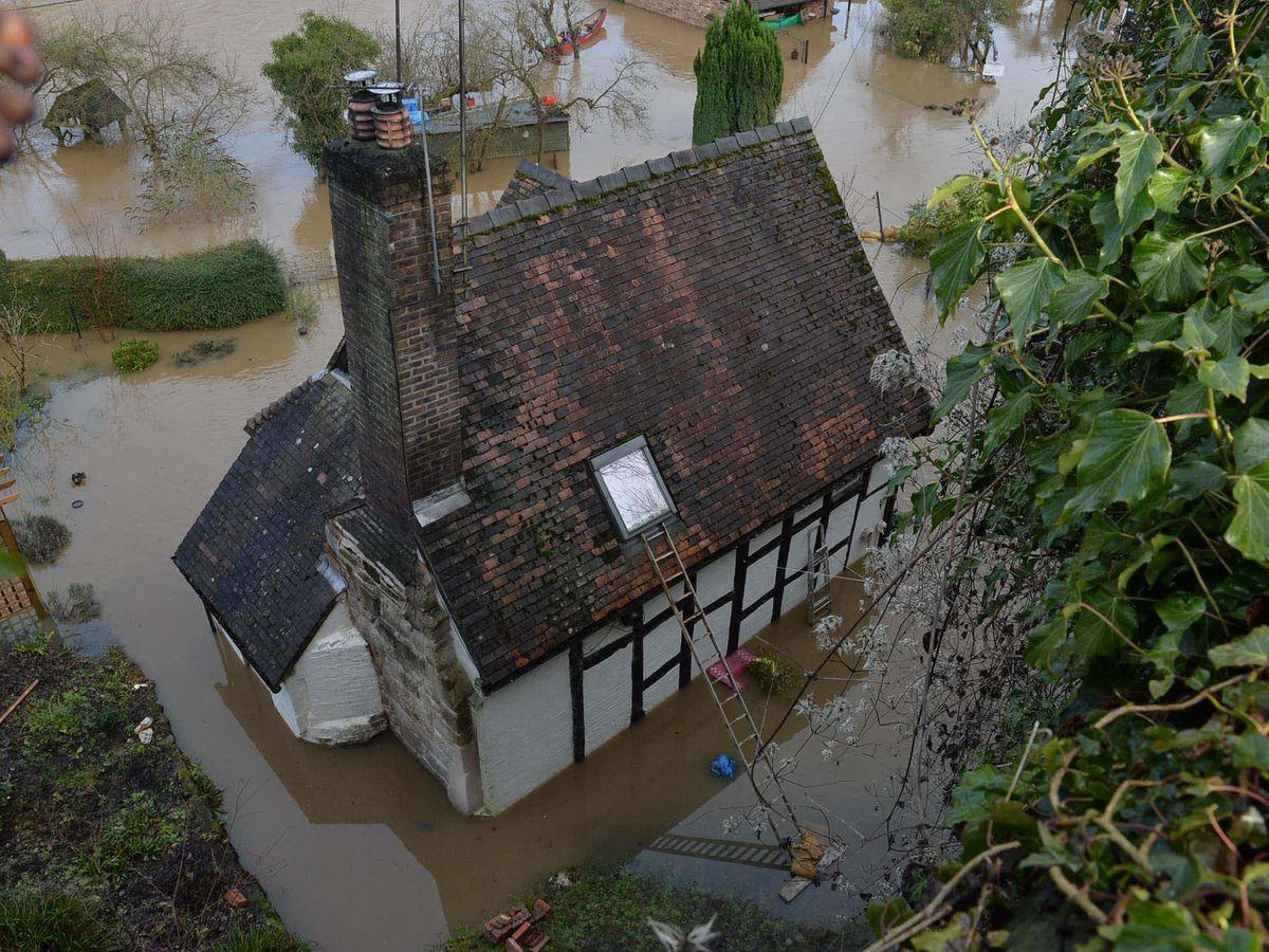 Flooding along the River Severn in Ironbridge