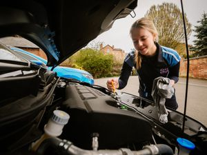SHREWS COPYRIGHT SHROPSHIRE STAR JAMIE RICKETTS 01/04/2021 - Girls from Shrewsbury High School have been learning life skills such as car mechanics and self defence as part of Period X Learning. In Picture L>R: Freya Bowett 14 learning about car mechanics.