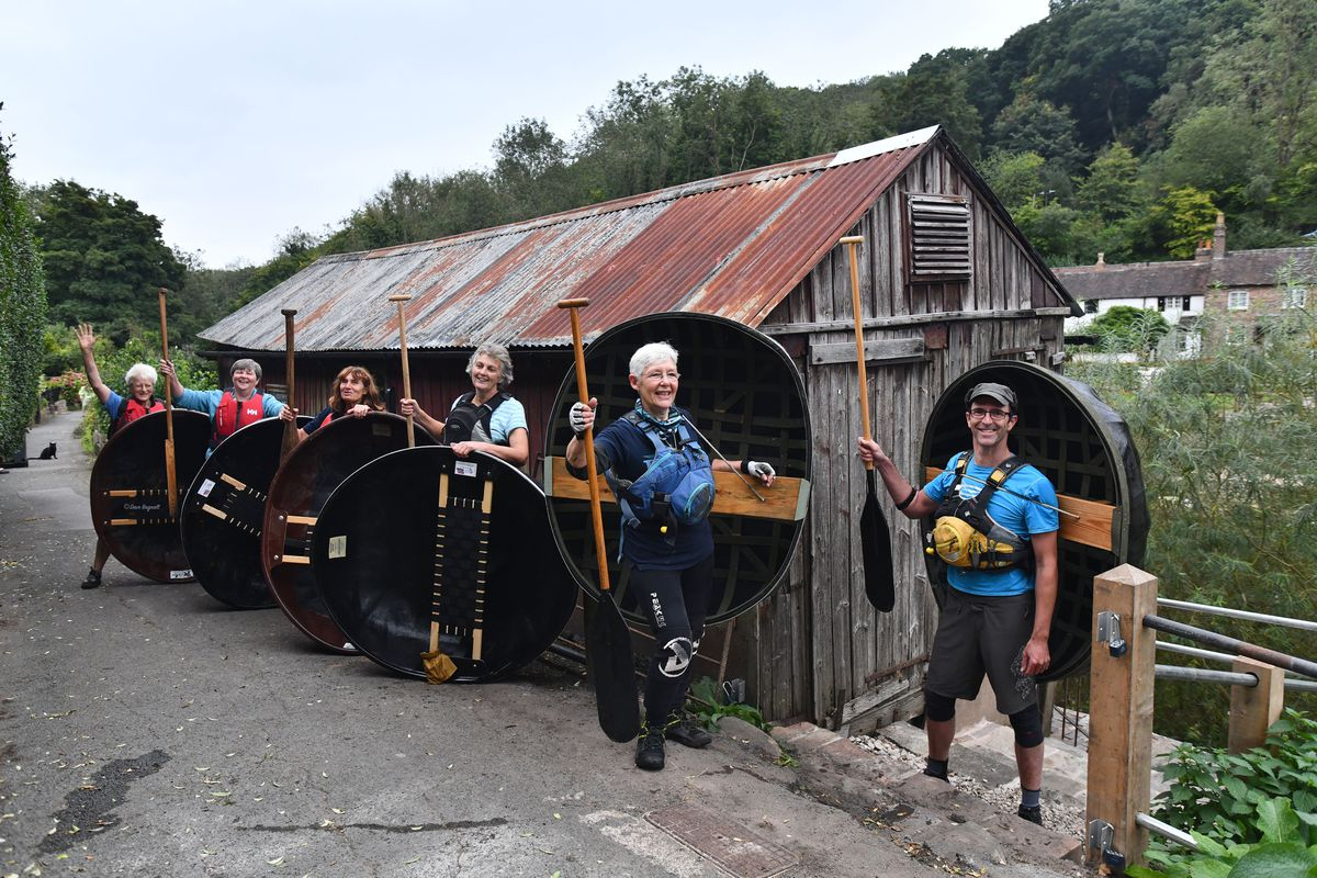 Ironbridge Coracle Trust members oustide Eustace Rogers restored shed. From left are, Jude Pilgrim, Anne Ketchen, Marion Blockley, Julia Tinker, Deborah Lowe, Jude Kristian. Picture by Dave Bagnall