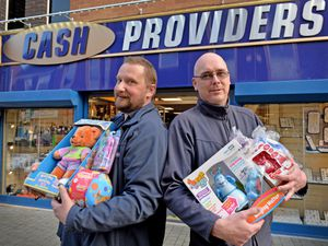 LAST COPYRIGHT TIM STURGESS SHROPSHIRE STAR...... 15/10/2020.  Cashproviders, Wellington, Every year raise money for the kids in hospital and buy Christmas Gifts.  They more donations as they are only at £600 last year they got to £1500. Pictured left, Steve Simpson and David Ford....