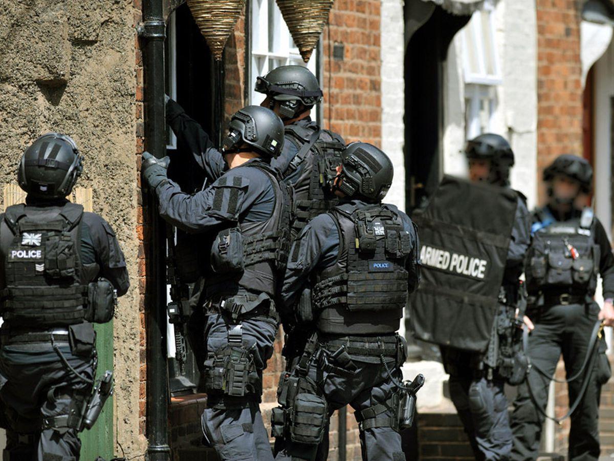 Armed police in Whitburn Street, Bridgnorth
