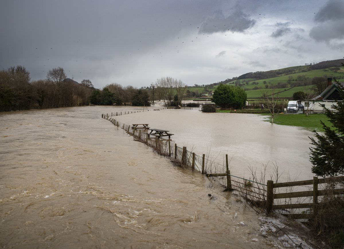 The camping area under water next to the Green Dragon pub at Buttington Cross, Welshpool. Photo: Dylan Evans