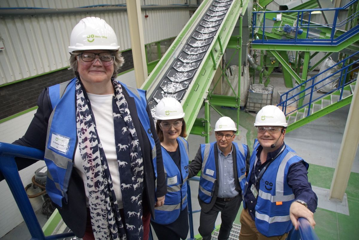 Environment minister Therese Coffey, Telford MP Lucy Allan, AO chief executive Steve Caunce and marketing director Anthony Sant