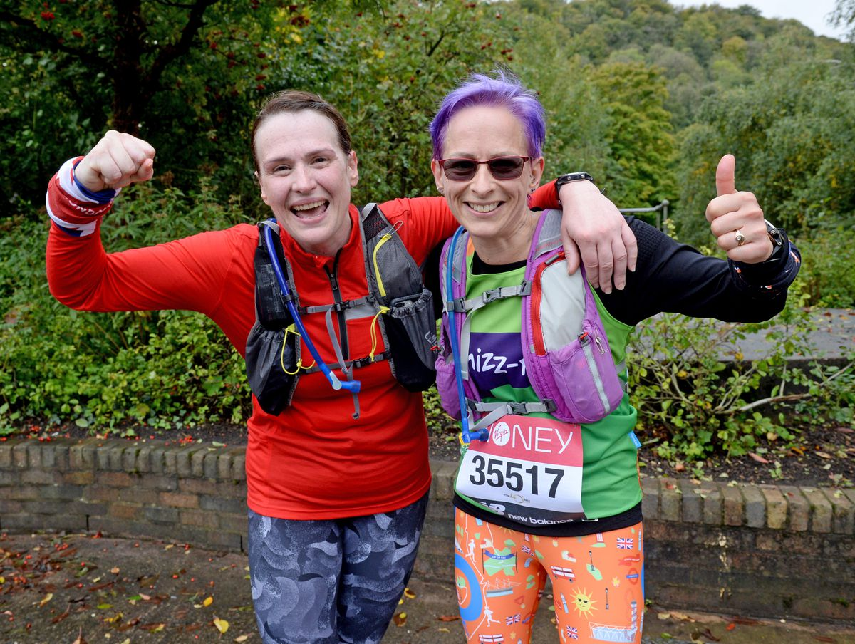 Debbie Morris from Wellington and Amanda Ellis from Admaston celebrate finishing their marathons at Dale End Park, Coalbrookdale