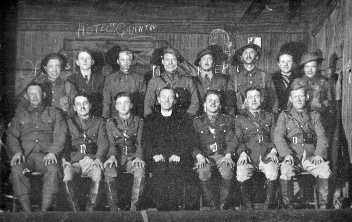 """Thank you to Dennis Gardner of Ketley Bank for the loan of this photo which he tells us shows the cast of the play Journey's End, performed in 1946 by men from the Catholic Church in Newport to mark the end of the war. """"The only actors I know are my father, Herbert Gardner, second from the right on the front row, and on his left is his brother Pat Gardner. Sadly my father passed away that year. Maybe someone will know the other actors."""""""