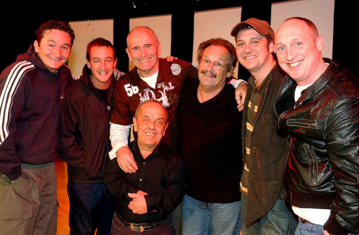 Cannon and Ball at Oakengates Theatre, with Bobby's sons Darren and Robert Harper, right.