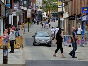 Shoplatch in Shrewsbury has been pedestrianised during lockdown