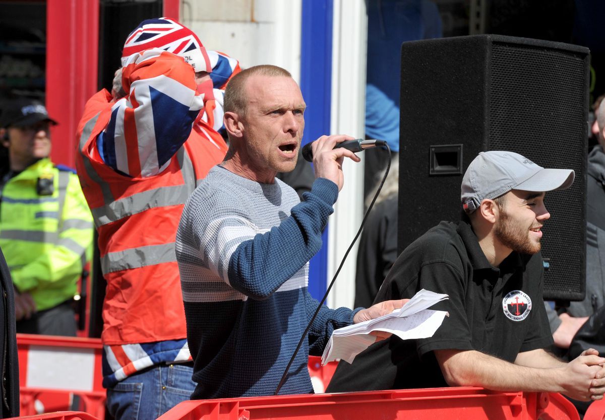 Part of the small EDL group
