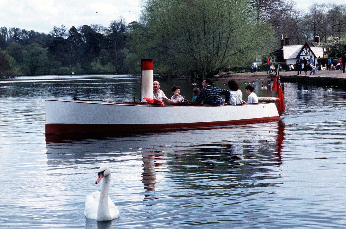 This boat was plying the Mere at Ellesmere carrying passengers over 30 years ago. Is that funnel indicative of an engine – or was it just for show? The date we have for this image is April 1988, although we're not sure if that means it was taken then, or first published then (in which case it could have been taken a little earlier).