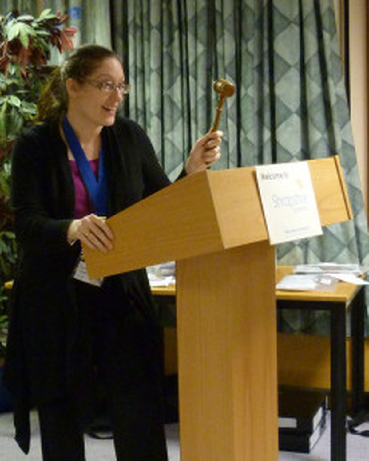 Sam Warner wields the gavel at a meeting of Shropshire Speakers – Picture by Jim Hawkins